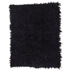 Black Turkish Tulu Shag Rug, Boho Chic, Angora Wool