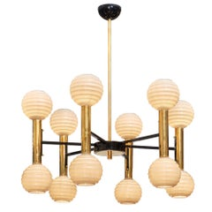 Modernist Ridged Murano Glass Chandelier