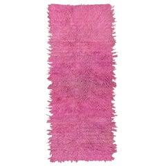 Pink Bohemian Tulu Shag Runner, Boho Chic, Angora