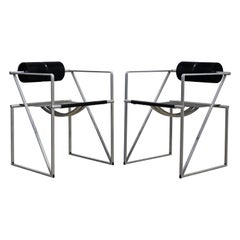 Pair of Seconda 602 Armchairs Designed by Architect Mario Botta for Alias, Italy