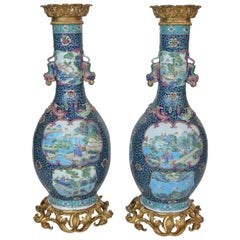 Pair of Antique Famille Rose Vases