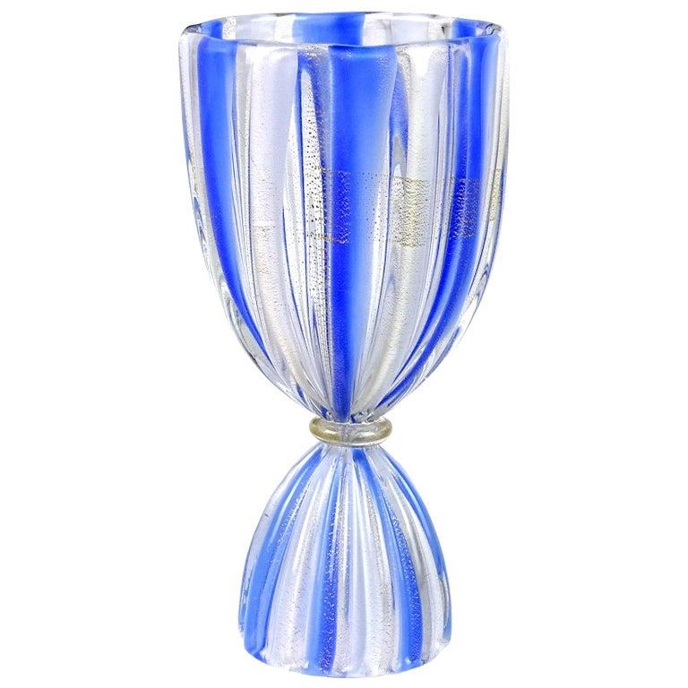 Salviati Murano Blue White Stripes Gold Flecks Corset Italian Art Glass Vase For Sale