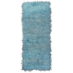Angora Tulu Shag Runner, Teal and Seafoam Green Tones