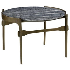 Solid Brass Outdoor or Indoor Coffee Table with Grey Marble Top & Antique Finish