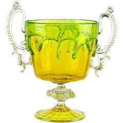Venetian Murano C. V. M. Yellow Green Drip Gold Italian Art Glass Trophy Vase