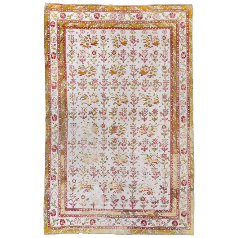 Antique Cotton Agra Rug With Abrash Circa 1900 For Sale: Antique Cotton Agra Rug, Circa 1920s For Sale At 1stdibs