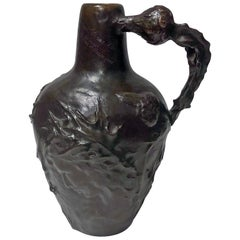 French Art Nouveau Bronze Jug Vase Jeanne Jozon