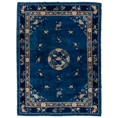 Antique Chinese Peking Carpet, Blue Field, circa 1920s