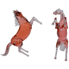 Set of Two Murano Glass Horses by Pino Signoretto