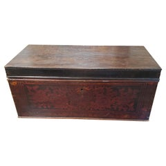 19th Century Indonesian Red and Black Lacquered Document Box with Brass Handles
