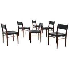 Set of Six Rare 1950s Helmut Magg Dining Chairs Teak and Leather Mod. 3024 WK