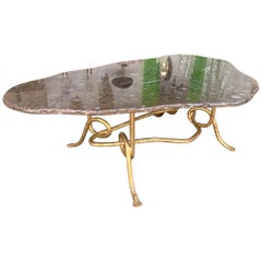 Coffee Table Gilt Iron Fossil Stone Top by Pinguaud, France, 1980s