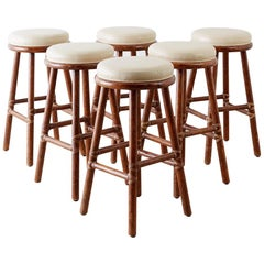 Set of Six McGuire Bamboo Rattan Leather Barstools