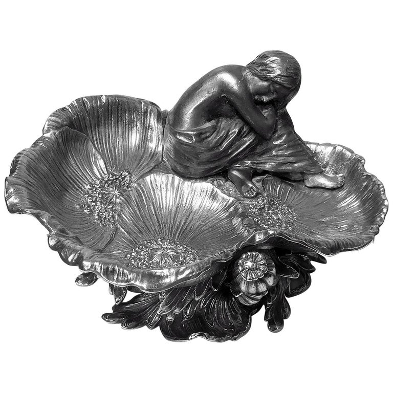 Art Nouveau Silvered Poppy Centrepiece Vide-Poche, French, circa 1900 For Sale