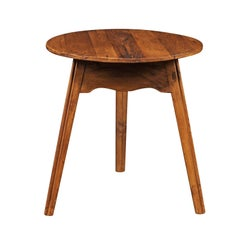English Turn of the Century Pine Cricket Table with Scalloped Apron, circa 1900