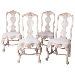 Early Set of Four Swedish Rococo Lindome Chairs, circa 1750