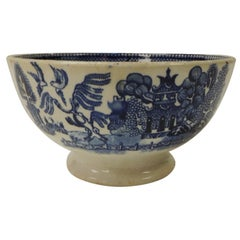 Antique Small Societe Ceramique Blue and White Willow Footed Bowl