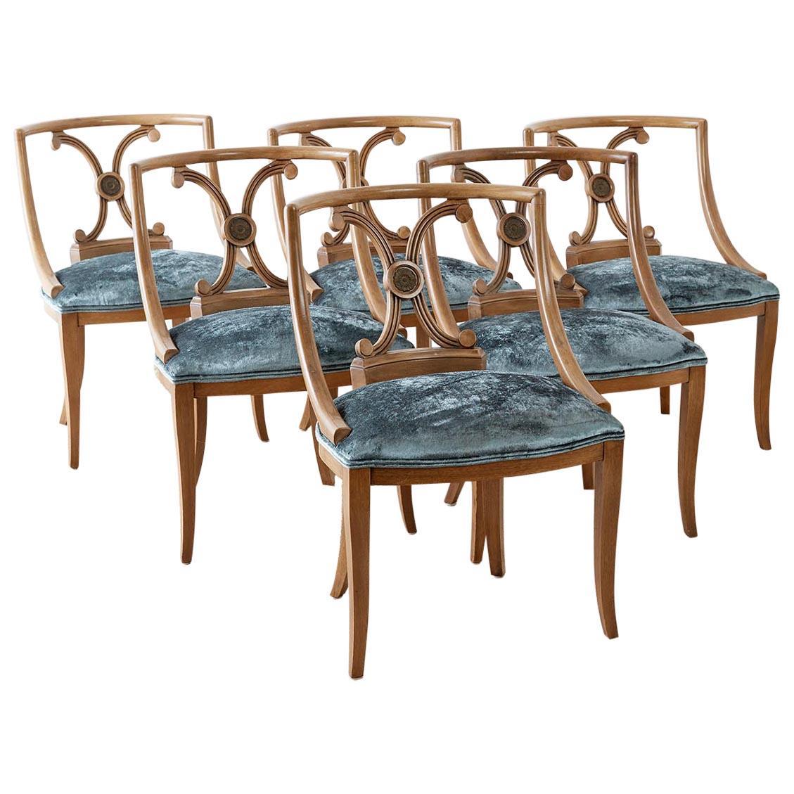 Set of Six Renzo Rutili Neoclassical Dining Chairs