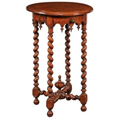 French 1870s Louis XIII Style Walnut Guéridon Side Table with Barley Twist Legs