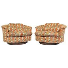 Pair of Mid-Century Danish Modern Groovy Round Swivel Club Chairs by Selig