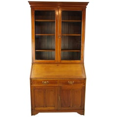 Walnut Bureau Bookcase, Slant Front Desk, Secretary Desk, Scotland, 1910