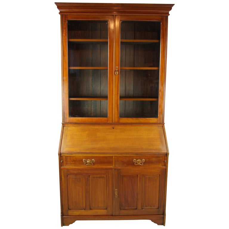 Walnut Bureau Bookcase, Slant Front Desk, Secretary Desk, Scotland, 1910 For Sale