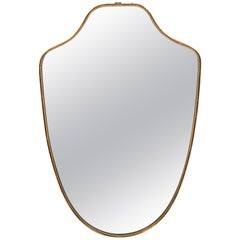 Italian Brass Shield Mirror with Beaded Details