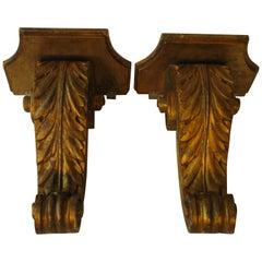 Pair of 1960s Italian Wood Gilt Corbels
