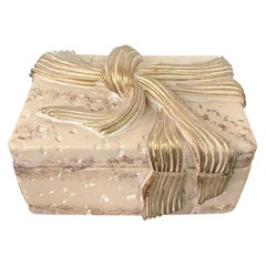 Jaru Cast Stone Ceramic Box with Bow Motif