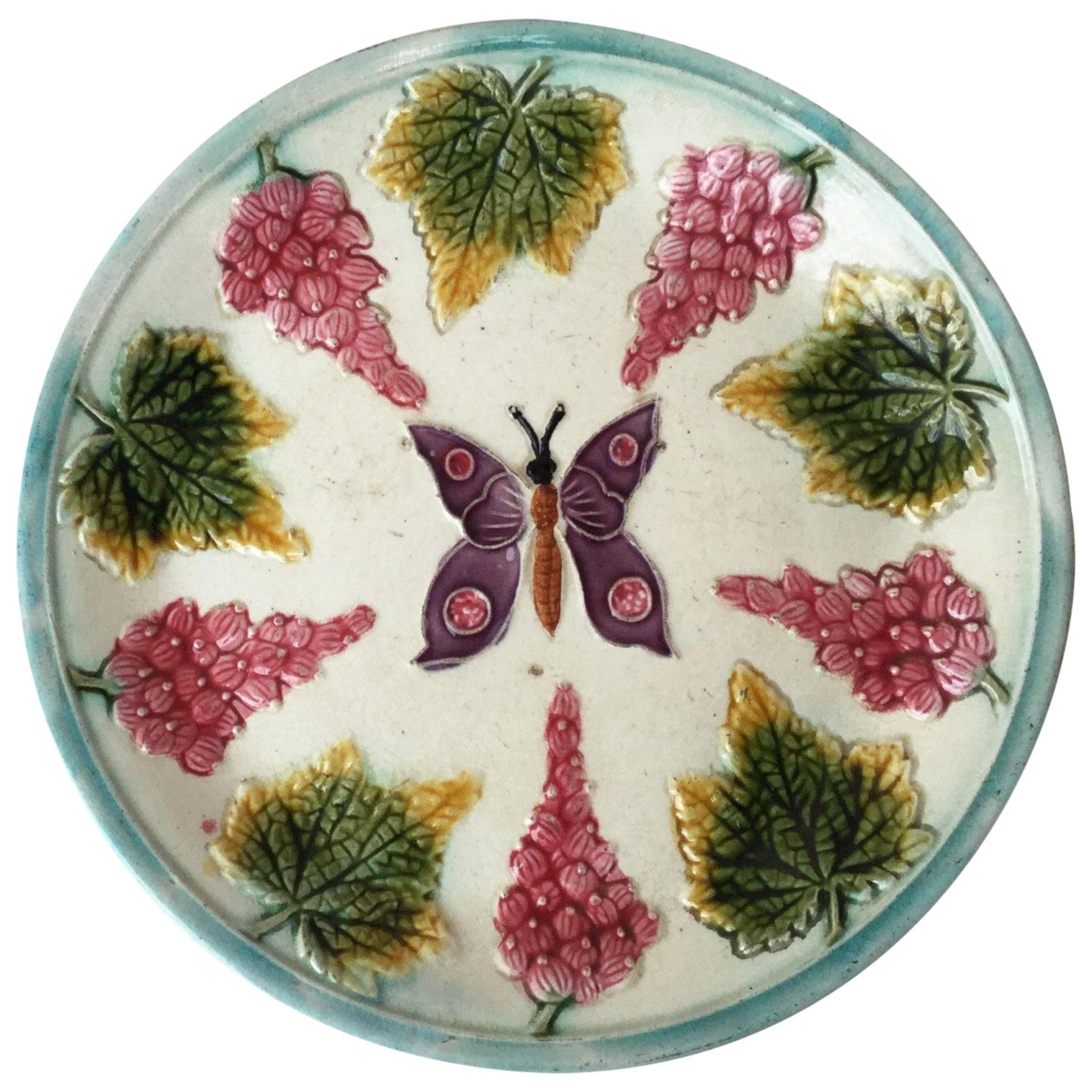 Majolica Plate with Butterfly and Fruits, circa 1890