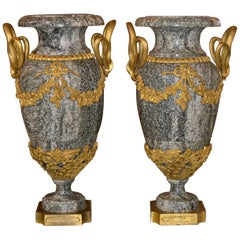 19th Century Pair of French Marble Urns