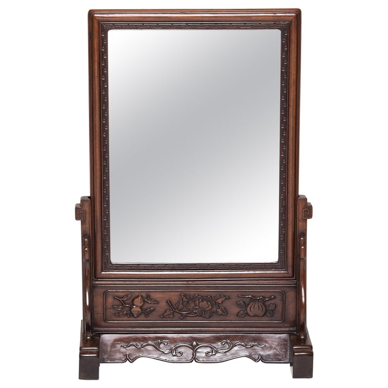 19th Century Chinese Table Screen with Mirror For Sale
