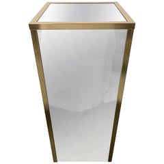 Brass and Mirror Pedestal in the Style of Gabriella Crespi