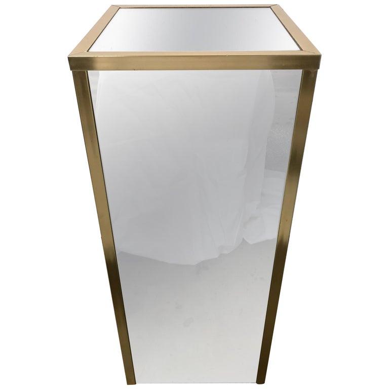Brass and Mirror Pedestal