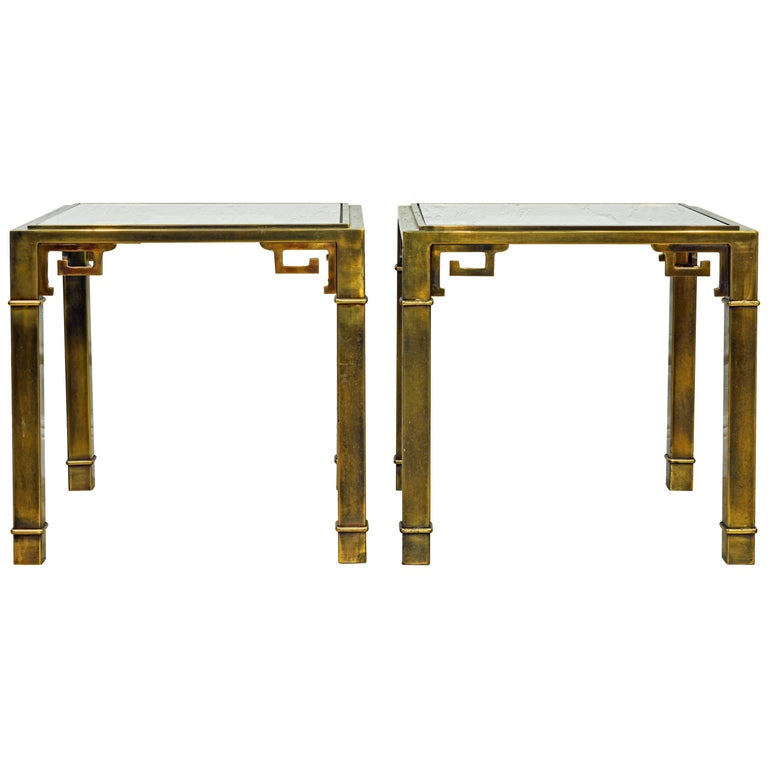 Pair of Mid Century Vintage Mastercraft Greek Key Brass and Glass Top End Tables