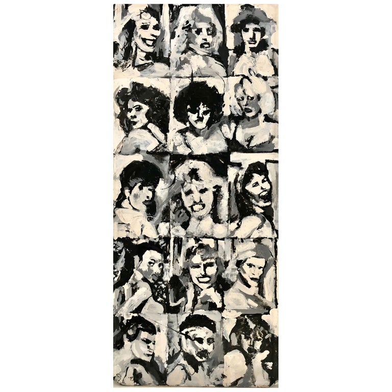 Mid-Century Modern Painted Banquet Table Multitude of Faces For Sale