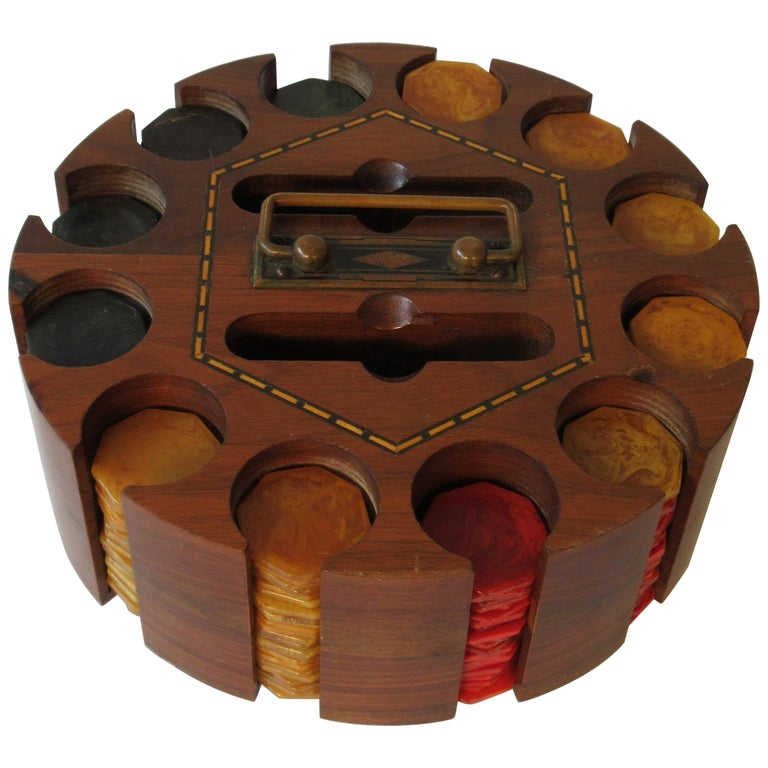 1930s Bakelite Poker Chip Set For Sale