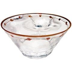 Dessert Bowls, Art Nouveau Hand Blown, Engraved, Gilded Rose 'Paula' by Moser