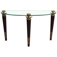 Fine French Wood, Bronze and Glass Console by Garouste and Bonetti