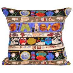 Vintage Nicole Miller Silk Fabric Pillow with Irish Linen Cushion