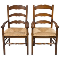 Pair of Solid Oak Rush Seat Ladder Back Dining Room Armchairs