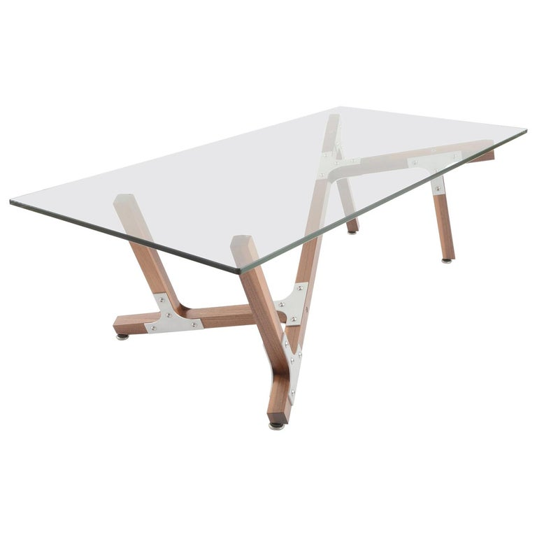 Industrial Modern Coffee Table Glass Metal and Walnut Wood For Sale