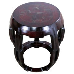 Vintage Asian Rosewood Garden Stool Barrel Drum Table with Brass Inlaid Design