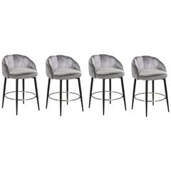 Mira Handcrafted Counter Stool-Grey/Polished Nickel