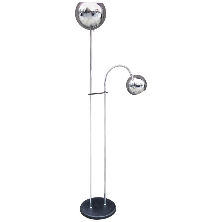 Chrome Two Ball Shade Floor Lamp in the Style of Sonneman Lighting For Sale