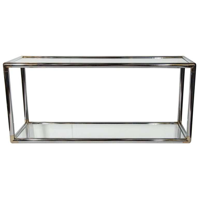 1970s Italian Mirrored and Chrome Two-Tier Console Table For Sale