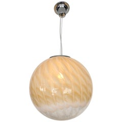 Italian Murano Blown Glass Globe Pendant Chandelier Attributed to Venini