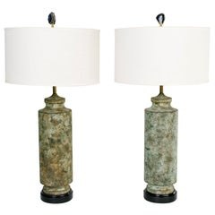Pair of Mid-Century Modern Brutalist Lamps in Distressed Oxidized Metal