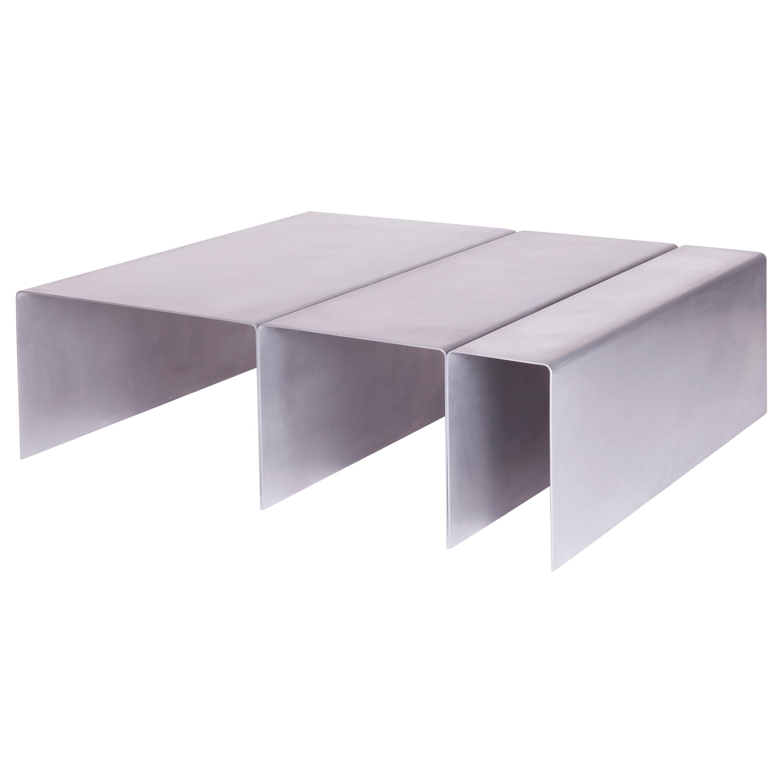 SEGMENT Coffee Table in Waxed Aluminum by Estudio Persona