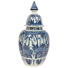 Antique Blue and White Dutch Delft Ginger Jar